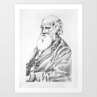 darwin Art Prints featuring Charles Darwin by Noelle Fontaine