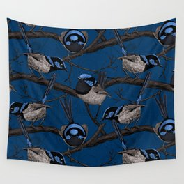 Night fairy wrens Wall Tapestry