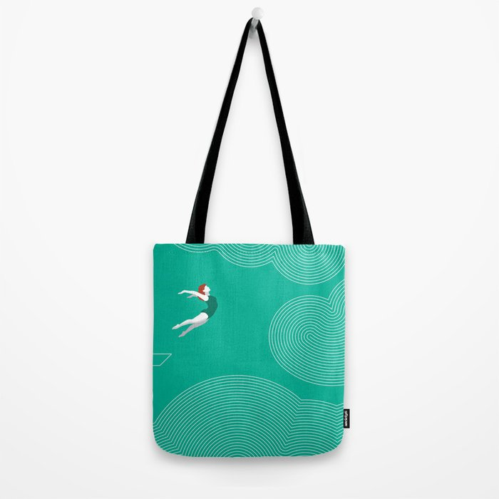diver girl jumping into the clouds Tote Bag