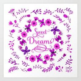 Sweet Dreams - Purple Pink Art Print