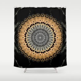 Black Marble with Gold Brushed Mandala Shower Curtain
