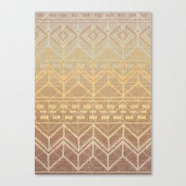 Neutral Tan & Gold Tribal Ikat Pattern Canvas Print