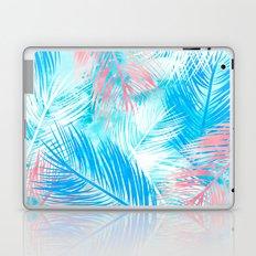 Bright pink blue watercolor palm tree leaf pattern Laptop & iPad Skin
