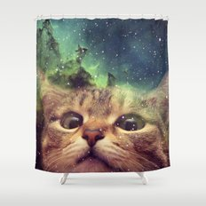 Cat Staring into Space Shower Curtain
