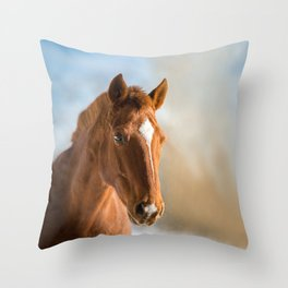 Brown Horse Winter Sky Throw Pillow