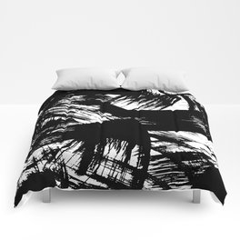 Black hand painted watercolor brushstrokes pattern Comforters