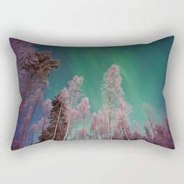 Northern Lights Pine Trees (Color) Rectangular Pillow