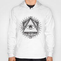 all seeing eye Hoodies featuring All Seeing Eye by E1 illustration