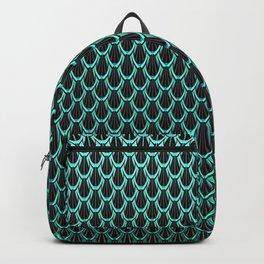 Chain Link Gleaming Aqua Green Metal Pattern Backpack