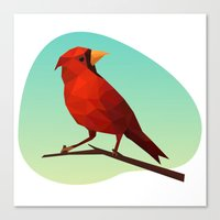 low poly Canvas Prints featuring Low-poly Red Bird by fortyfive