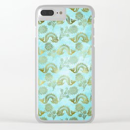 Mermaid Ocean Whale Friends - Teal And Gold Pattern Clear iPhone Case