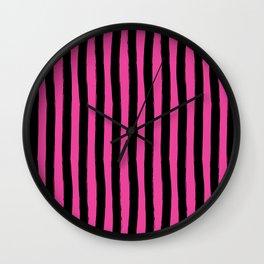 Black and Pink Cabana Stripes Palm Beach Preppy Wall Clock