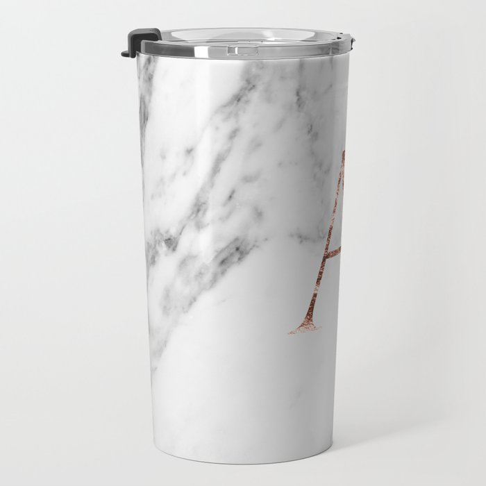 Monogram rose gold marble A Travel Mug