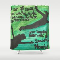 neverland Shower Curtains featuring Somewhere in Neverland by Amy DiRuzzo