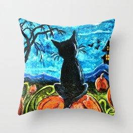 Cat in Pumpkin Patch Throw Pillow