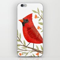cardinal iPhone & iPod Skins featuring Cardinal by Stephanie Fizer Coleman