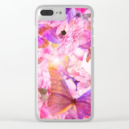 A Summer Dream Where Pink And Violet Butterflies Flying #decor #society6 #pivivikstrm Clear iPhone Case
