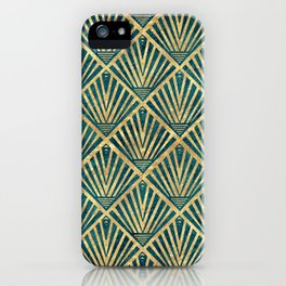 Stylish geometric diamond palm art deco inspired iPhone Case