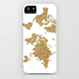 world map white gold iPhone Case