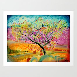 Autumn tree in bracken and heather Art Print