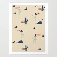 swim Art Prints featuring Dezert swim by .eg.