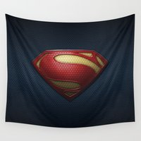 superman Wall Tapestries featuring SUPERMAN by Bilqis