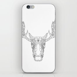 Bull Moose Head Doodle iPhone Skin