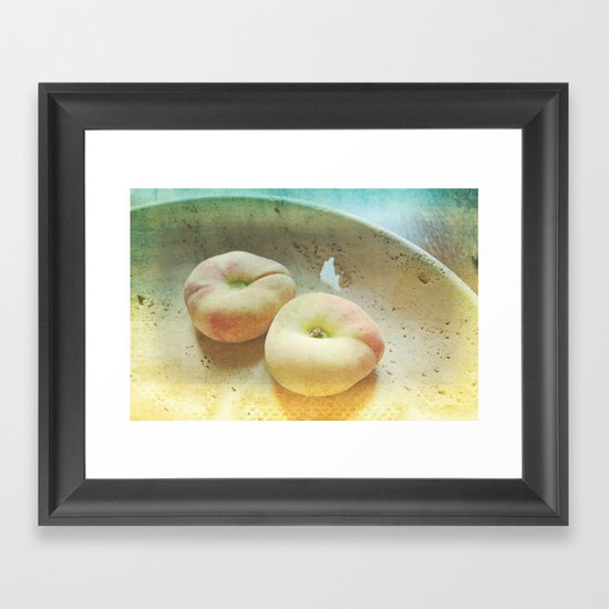 Flat Peaches Framed Art Print