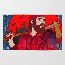 Hipster Lumberjack Red Rug