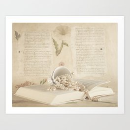 Pearls on Book ( Vintage Still Life Photography)  Art Print