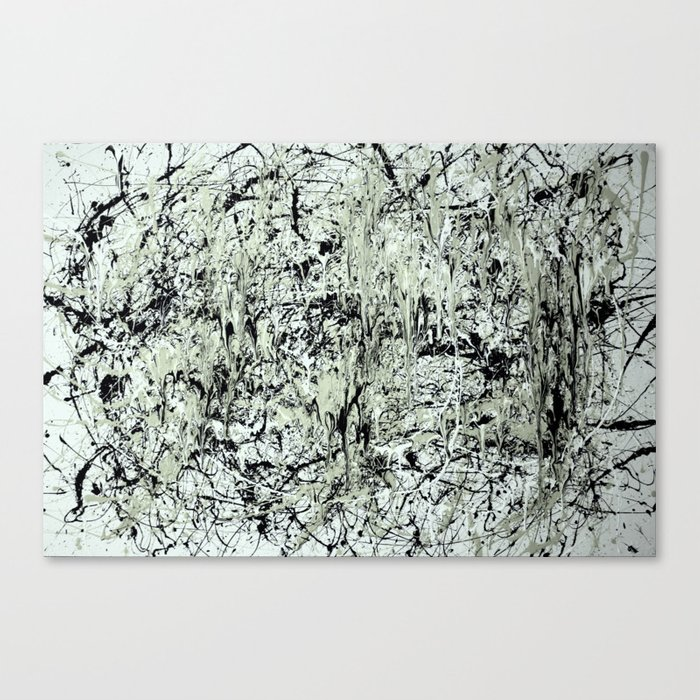 Abstract Jackson Pollock Painting Original Art Titled Black Vs White Canvas Print By Zeeclark