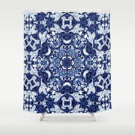 Boho Blue Medallion Shower Curtain