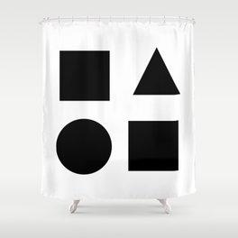 Minimal Shapes Black Shower Curtain