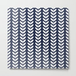 Navy Blue and White Scandinavian leaves pattern Metal Print