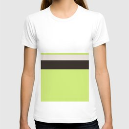 Modern Lime Green Color Block Gray Stripes White T-shirt