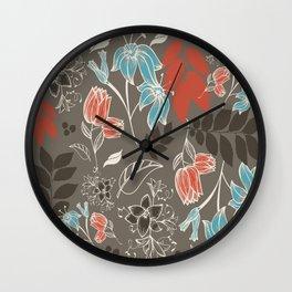 Spring flower brown Wall Clock