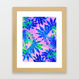 Tropical Adventure - Neon Blue, Pink and Green #tropical #homedecor Framed Art Print