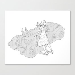 Fixing the Car Canvas Print