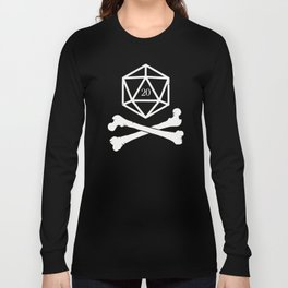 DnD Polyhedral D20 Dice Skull Slaying Dragons in Dungeons Long Sleeve T-shirt