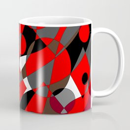 Abstract, Retro Red, Brown, Gray and Black Coffee Mug