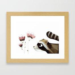 Raccoon art, for all animal lovers, minimalist and simple Framed Art Print