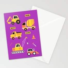 Constructon Trucks in Purple Stationery Cards