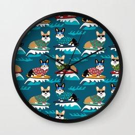 Surfing Corgis Dog summer beach hang 10 catch a wave summer dog pattern Wall Clock