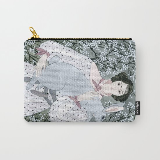 Girl and rabbit among flowers Carry-All Pouch