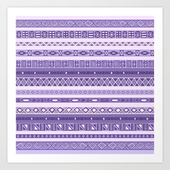 Purple Lavender Aztec Pattern Art Print