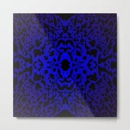 Openwork ornament of blue spots and velvet blots on black. Metal Print