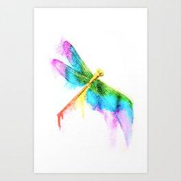 Rainbow Dragonfly Art Print