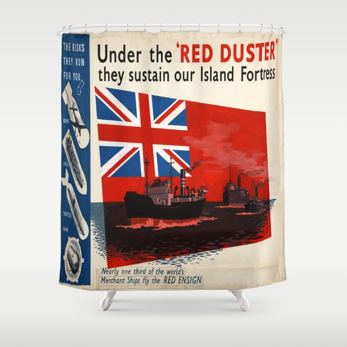 Vintage poster - Under the Red Duster Shower Curtain