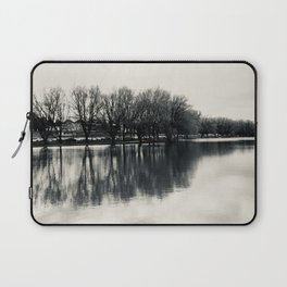 Guitar Shaped Reflection, Black and White Laptop Sleeve
