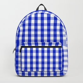 Cobalt Blue and White Gingham Check Plaid Squared Pattern Backpack
